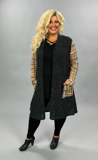 OT-Q {Best Memories} Black & Tan Plaid Sleeve Knit Cardigan PLUS SIZE 1X 2X 3X