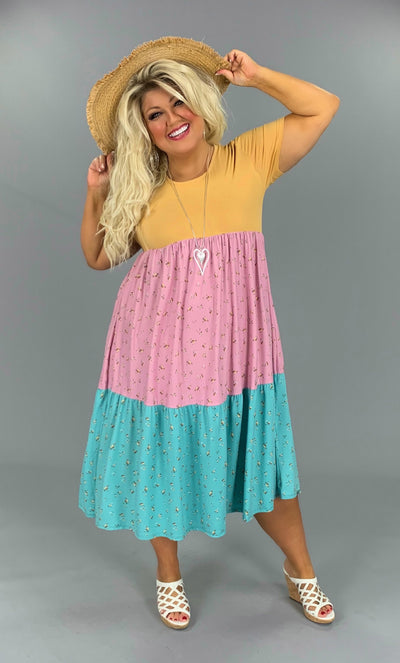 CP-G{Butterscotch Kisses}Gold/Lilac/Seafoam Dress PLUS SIZE 1X 2X 3X