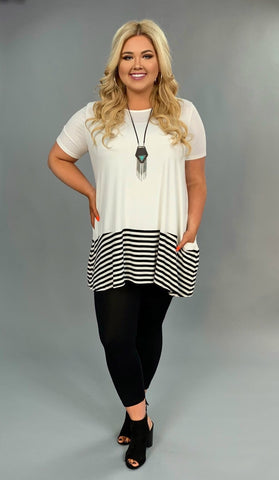 CP-A {Topsy-Turvy} White Striped Contrast Tunic with Pockets