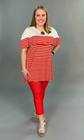 CP-Z {Finest Moments} Red Striped Top with Yoke Detail