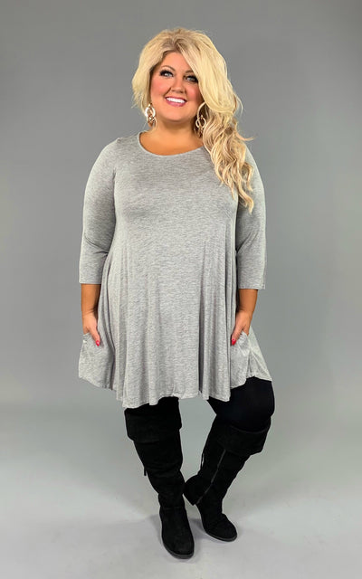 SQ-i  Heather Gray Tunic or Dress with Pockets & 3/4 Sleeves  SALE!!