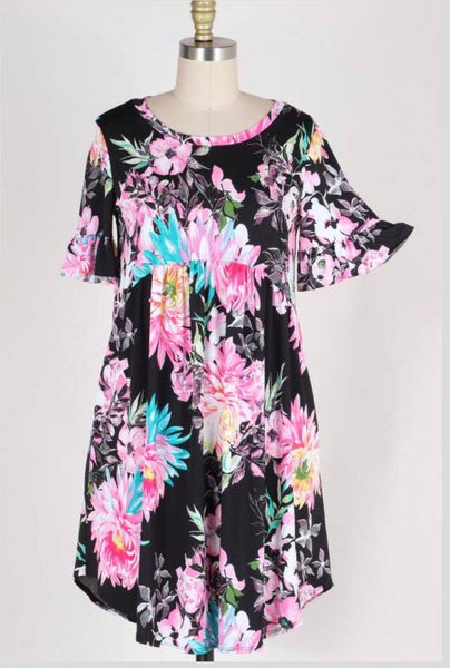 PSS-H {I Miss You} BLACK/PINK FLORAL BABYDOLL DRESS