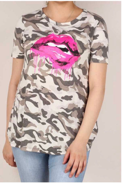 53 GT-A {Camo Kiss} Brown Camo Pink Lip Tunic Plus 1X 2X 3X