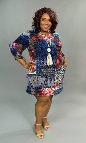 PQ-O {Truth Wins} Navy/Fuchsia Floral Print Dress Pockets