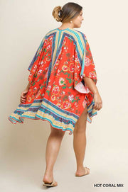 "OT-C{Waverly Park}""Umgee"" Tomato Red Floral Cardigan PLUS SIZE XL/1X 1X/2X SALE!!"