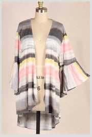 OT-A {Summer Sunset} Gray/Pink/Yellow Stripe Bell Sleeve Cardigan PLUS SIZE 1X 2X 3X