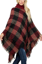 19 OT-B {On Fall Time} SALE!!  Red Black Plaid Poncho PLUS SIZE ONE SIZE 3X