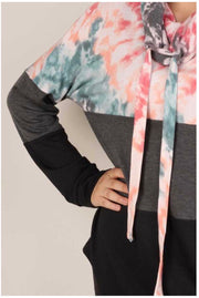 25 HD-P {Star Week} Mauve Blue Tie Dye Contrast Hoodie PLUS SIZE XL 2X 3X
