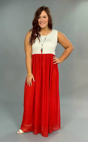 LD-M {Glam It Up} Off-White/Red Maxi Dress with Lining