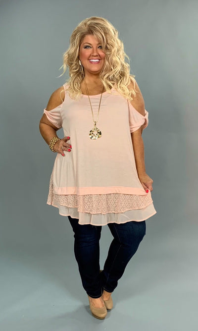 OS-V {Just Peachy} Cold-Shoulder Top with Layered Lace Hem SALE!