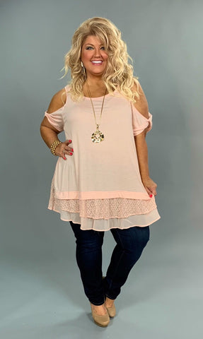 OS-V {Just Peachy} Cold-Shoulder Top with Layered Lace Hem