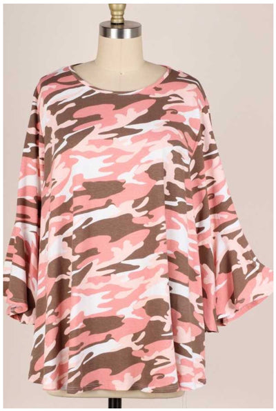 53 PQ-C {Lady Camo} Pink Brown Camo Tunic Bell Sleeves Extended Plus 3X 4X 5X