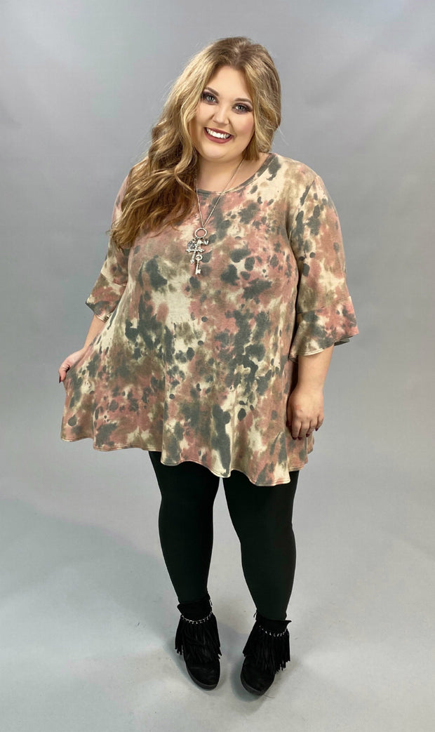 PQ-B {Living & Loving} Rose Charcoal Tie Dye Bell Sleeve Tunic EXTENDED PLUS SIZE 4X 5X 6X