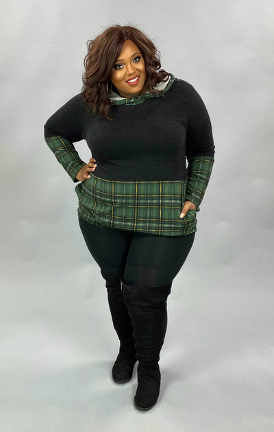 10-31 HD-E {Having A Good Time} Black With Green Plaid Hoodie PLUS SIZE XL 2X 3X