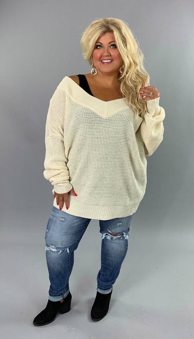 OS-C {Balancing Act} Cream Stretchy Waffle Knit V-Neck Sweater