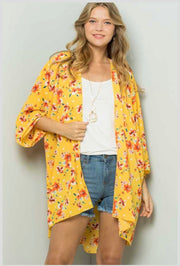 65 OT-F {Flowers In Sunshine}  Yellow Floral Printed Cardigan PLUS SIZE