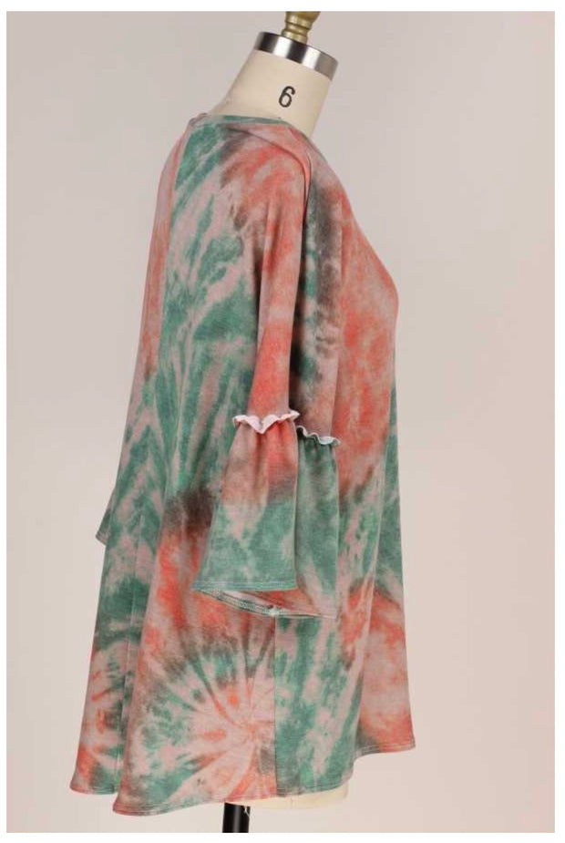 PQ-B {Different Feeling} Green Coral Tie Dye Bell Sleeve Tunic PLUS SIZE XL 2X 3X