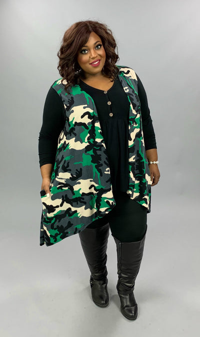 OT-X {Go My Way} Green Grey Black Camo Print Knit Vest CURVY BRAND EXTENDED PLUS SIZE 3X 4X 5X 6X
