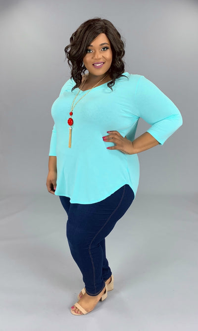 SQ-P {Anything Goes} Blue Mint V-Neck Tunic with 3/4 Sleeves PLUS SIZE 1X 2X 3X