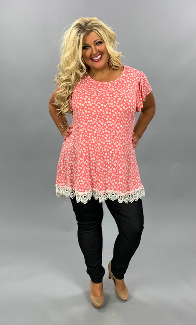 PSS-B {Little Daisy} Coral Daisy Print Top Lace Hem Detail PLUS SIZE 1X 2X 3X SALE!!