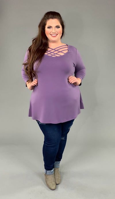SQ-L {California Dreaming} Lilac Grey Cage Neck Top