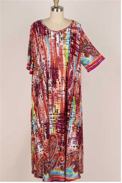 LD-A { Friendly Faces} Multi Color Abstract Paisley Dress EXTENDED PLUS SIZE 3X 4X 5X