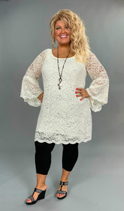 OS-C {For The Best} Ivory Lace {Stretchy!} Tunic Bell Sleeves