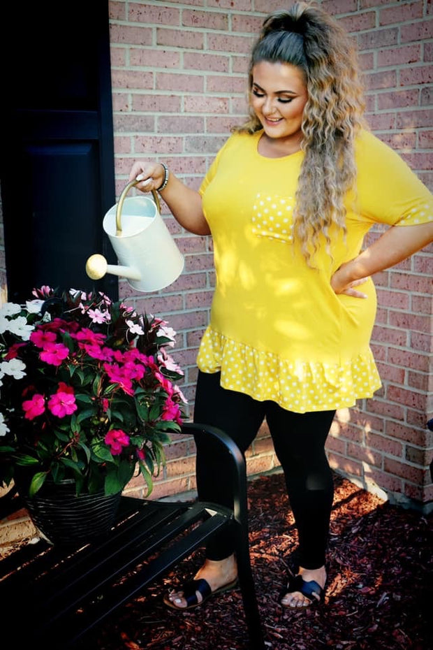 CP-P {Nothing But Smiles} Yellow Tunic Polka Dot Detail CURVY BRAND EXTENDED PLUS SIZE 3X 4X 5X 6X SALE!!