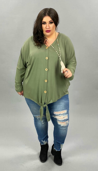 41 SLS [Dream in Color}  SALE!! Olive Tunic with Button Front & Tie PLUS SIZE 1X 2X 3X