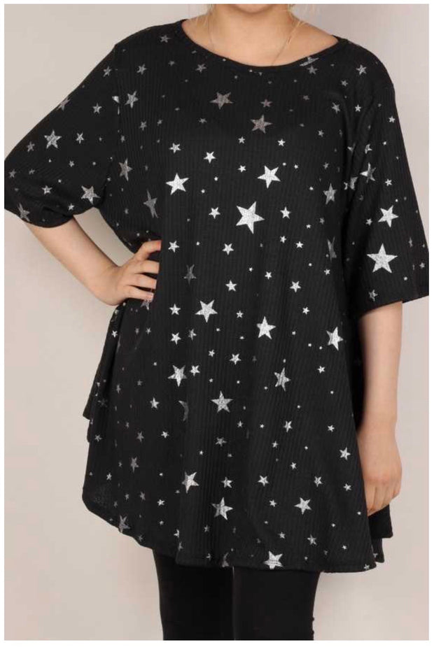 45 PSS-B  {Beautiful People} Black/Silver Star Waffle Knit Tunic Extended Plus Size 3X 4X 5X
