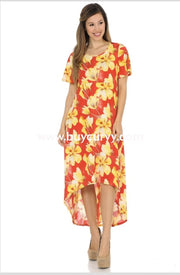 Ld-B {Time To Get Happy} Red/yellow Floral Hi-Lo Dress Long