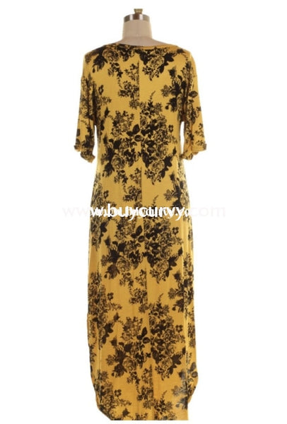 Ld-F {All That Matters} Yellow/black Floral Print Maxi Dress Long
