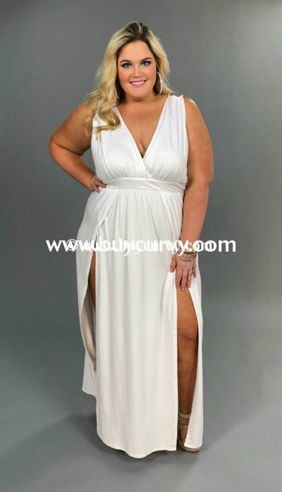 Ld Fake Love White V-Cut With Slit And Waistband Sale!! Long Dress