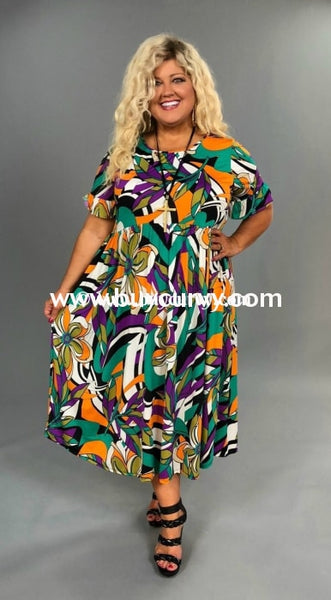 Ld Gypsy Soul Green/orange Abstract Print Sale!! Long Dress