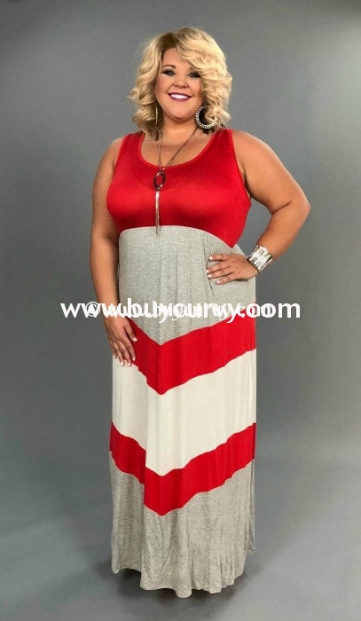 Ld-I Sale!! {Leisure Time} Red/gray Sleeveless Maxi Long Dress