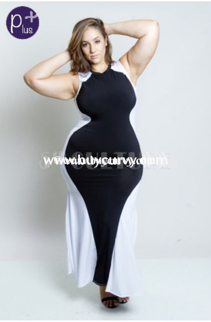 LD-K {Love My Curves} Black & White Hourglass Maxi Dress SALE!!