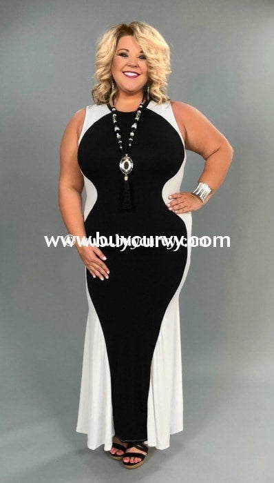 LD-K {Love My Curves} Black & White Hourglass Maxi Dress PLUS SIZE SALE!!