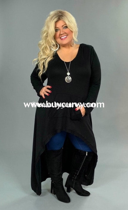 Ld-K {Teen Queen} Black Hi-Lo Duster Style Hoodie With Pocket Long Dress