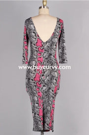 Ld-K {Whos That Lady} Blk/fuchsia Snakeprint Bodycon Dress Long