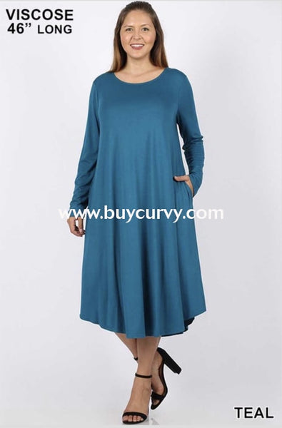 Ld-O {Make It Simple} Teal Long Sleeved Dress With Pockets