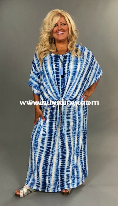 Ld {Sale} Pure Enchantment Blue/ivory Bamboo Knot Hem Long Dress