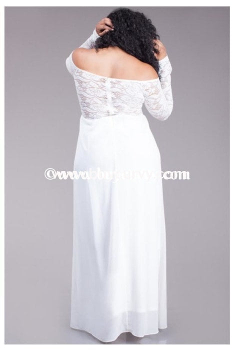 Ld- Symphony Maxi White Lace Sleeves & Back Sale!! Long Dress