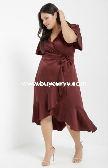 Ld-U {Dinner At Sunset} Cabernet Satin Wrap Dress Long