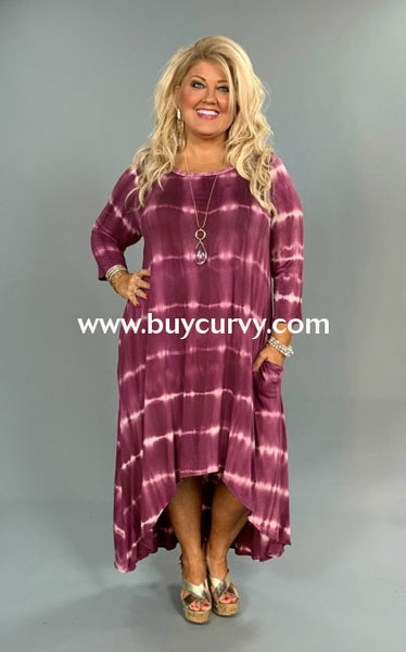 Ld-Z {Trending Now} Plum Tie-Dye Print Hi-Lo Dress Long