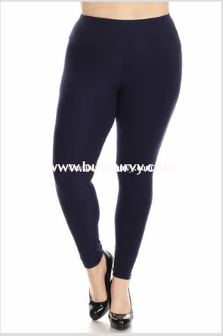 Leg-Cp {My Lucky Day} Navy Poly/spandex Soft Leggings