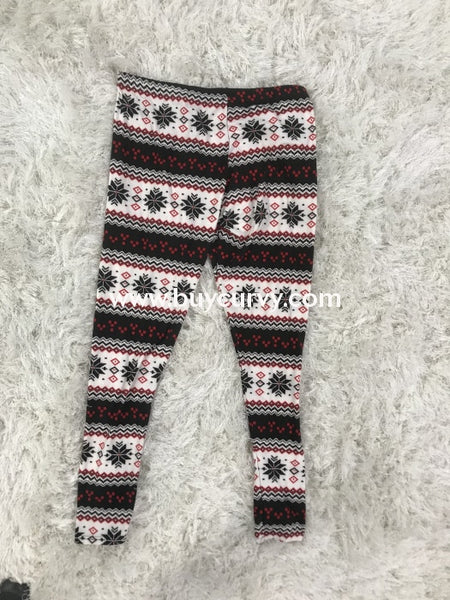 Leg-Gt- Black/red Christmas Snowflake Leggings