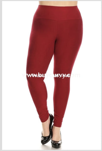 Leg-Gt {My Lucky Day} Burgundy Poly/spandex Soft Leggings