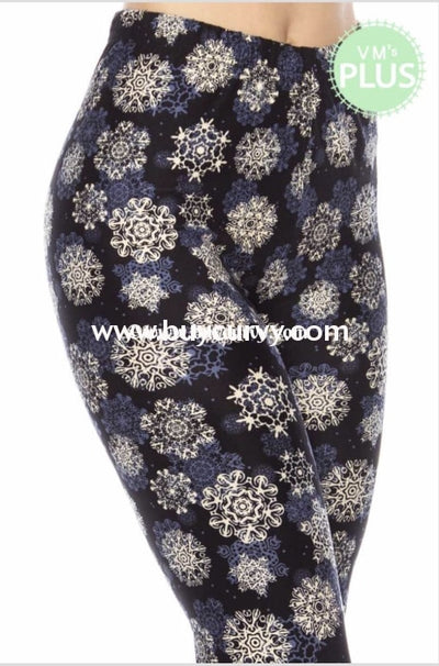 Leg-Gt- {Perfect Fit} Navy Leggings With Snowflake Pattern