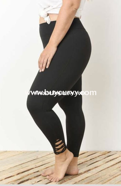Leg-Gt {Plan On It} Black Spandex Leggings Criss-Cross Detail