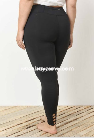 9c3e71fb9ef7c Leg-Pq {Enough Said} Black Spandex Leggings With Cross Detail